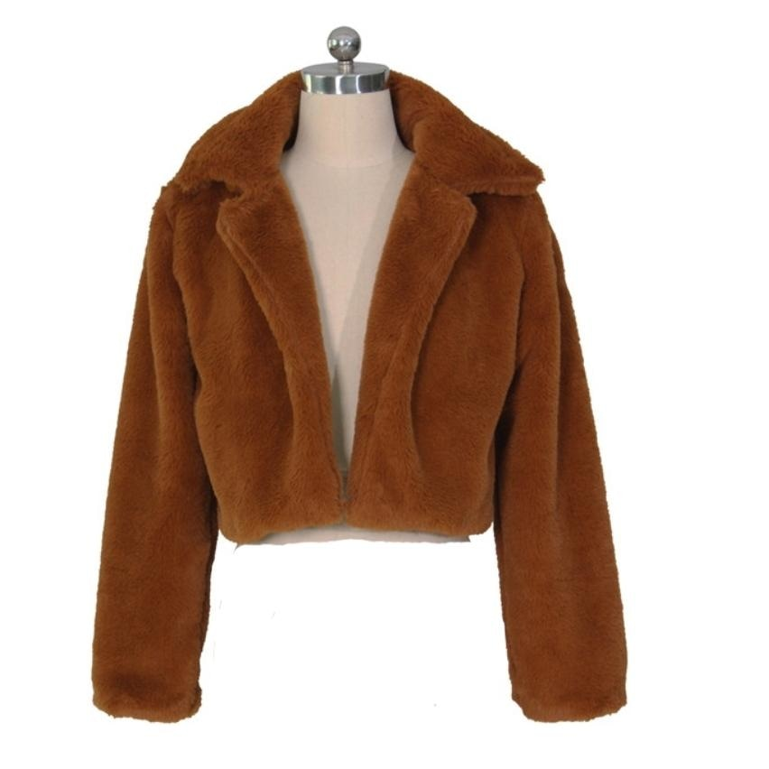 THE HALLE FAUX FUR COAT - BROWN