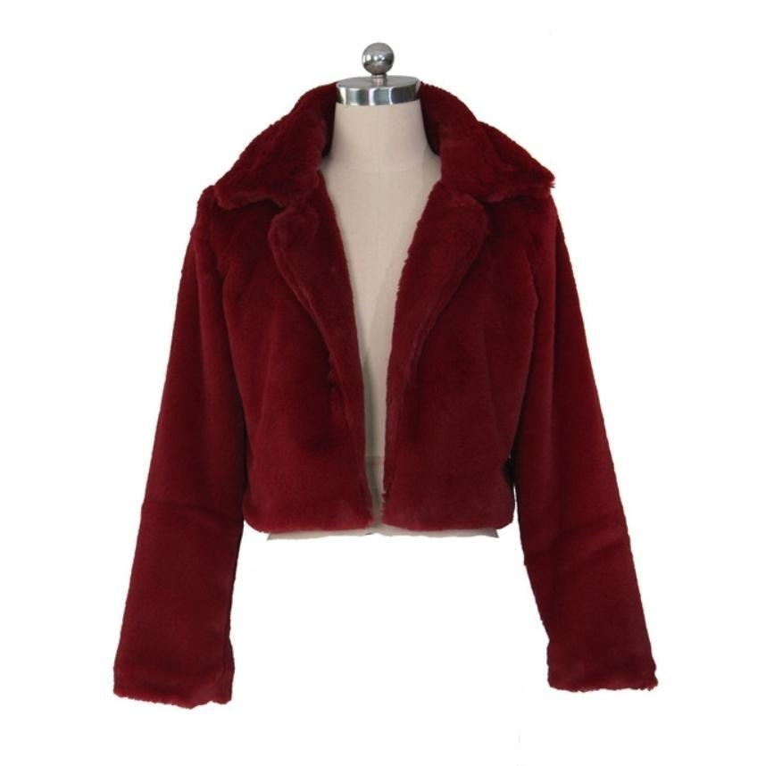 THE HALLE FAUX FUR COAT - BURGUNDY