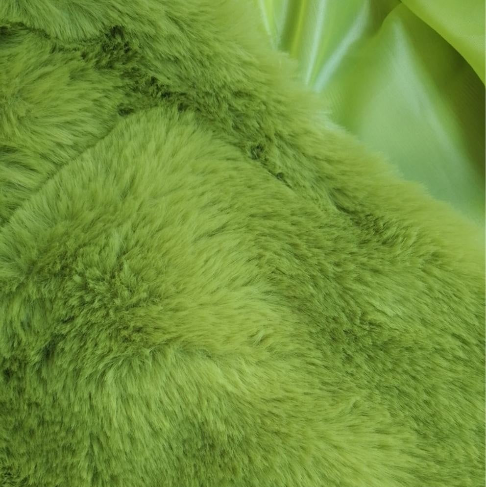 THE HALLE FAUX FUR COAT - GREEN