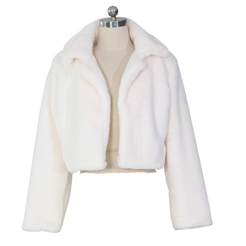 THE HALLE FAUX FUR COAT - WHITE