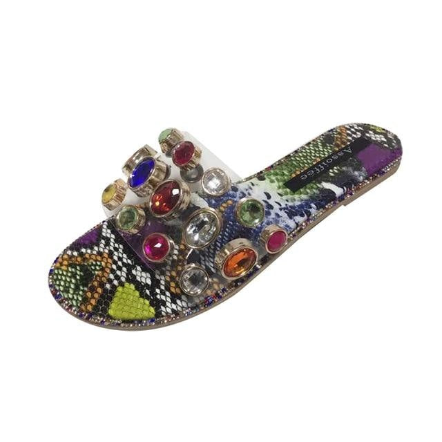 THE JEWELED FLAT SANDALS