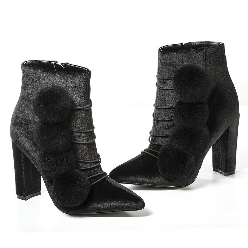 THE POM POM GIRL ANKLE BOOTS - BLACK