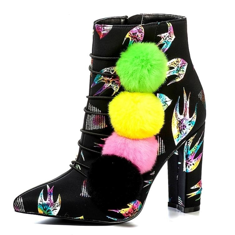 THE POM POM GIRL ANKLE BOOTS