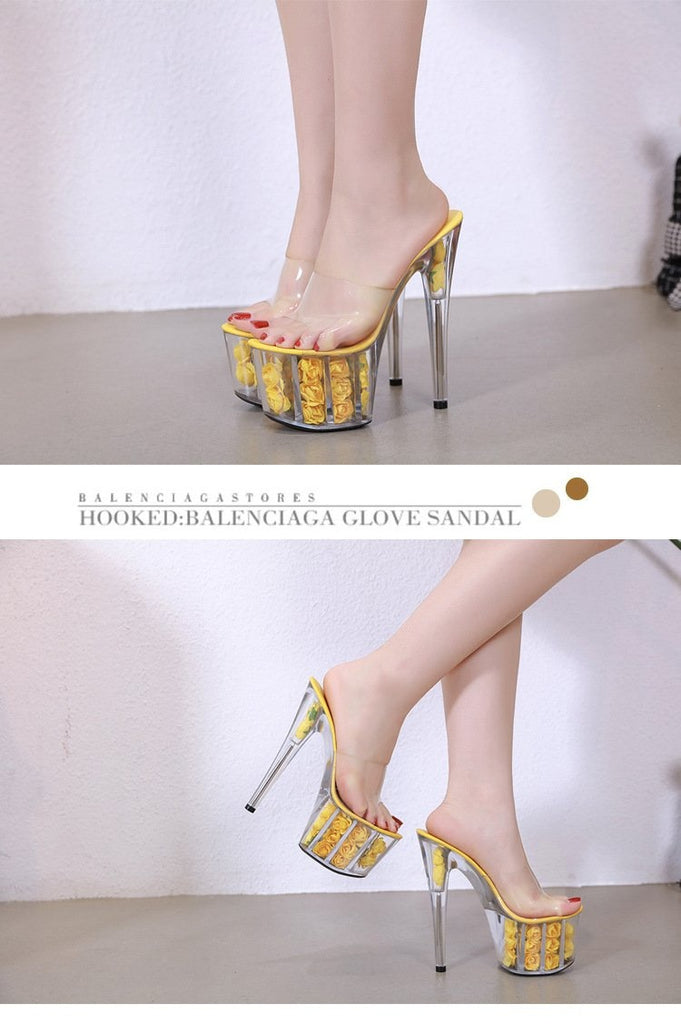 THE ROSE PLATFORM HIGH HEELS - YELLOW