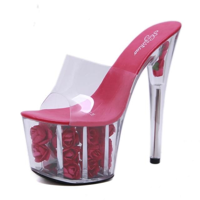 THE ROSE PLATFORM HIGH HEELS