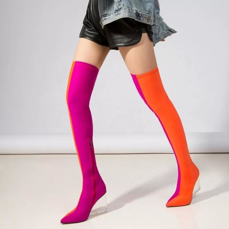TWO FACED OVER THE KNEE BOOTS - ORANGE