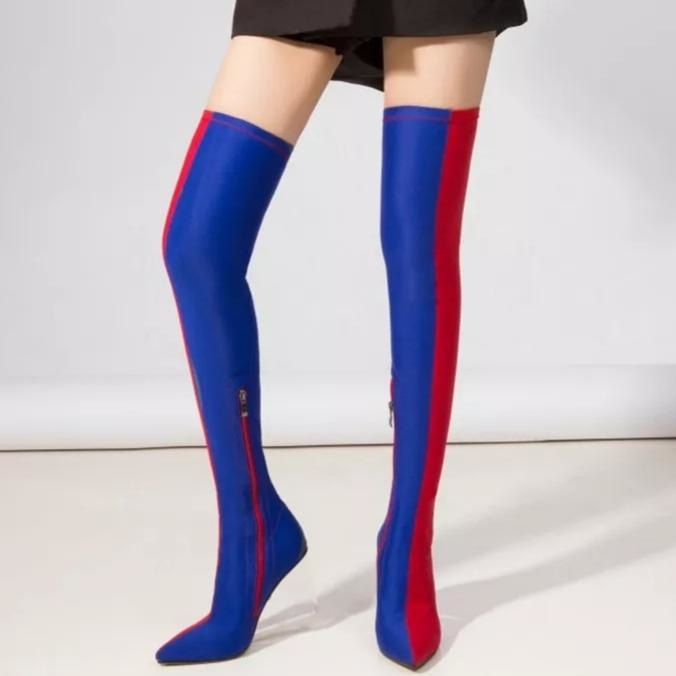 TWO FACED OVER THE KNEE BOOTS - RED