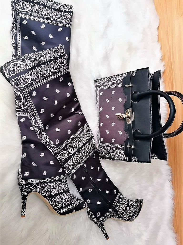 U WOKE UP TO A BAD B*TCH BANDANA BOOTS - BLACK