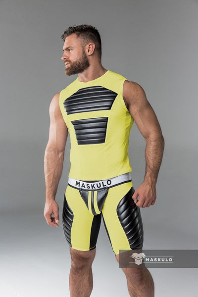XPLCIT Assistance, Maskulo Fetish Tank Top. Spandex. Front Pads. Yellow, Apparel, Maskulo,