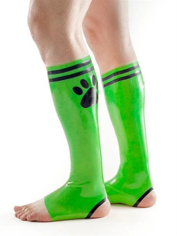 XPLCIT Assistance, FETCH Rubber Puppy Football Socks - Green & Black, Apparel, Mister B,