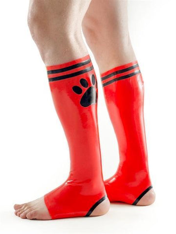 XPLCIT Assistance, FETCH Rubber Puppy Football Socks - Red & Black, Apparel, Mister B,