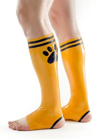 Mister B Apparel FETCH Rubber Puppy Football Socks - Yellow & Black