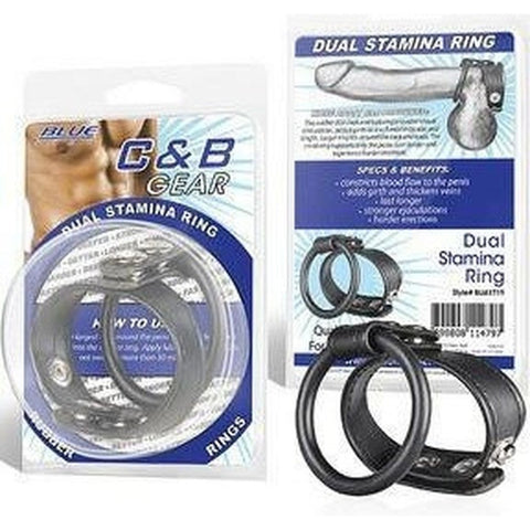 Mister B Cock & Ball Blue Line Men Dual Stamina Ring