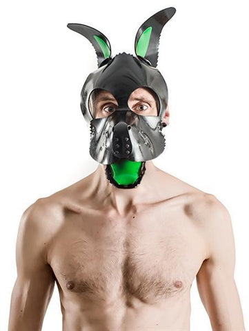 XPLCIT Assistance, FETCH Rubber Dog Hood Tongue and Ears - Green, Puppy Play, Mister B,