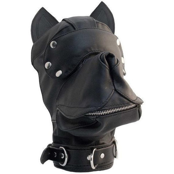 Mister B Puppy Play Leather Dog Hood - Black