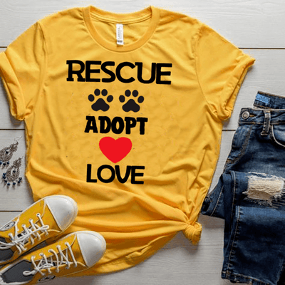 """RESCUE ADOPT LOVE"" T-shirt"