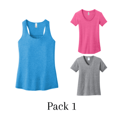 "Pack of 3 ""Scoop neck+Vneck+Tank Top - Form-fitting & 100% ring spun cotton"""