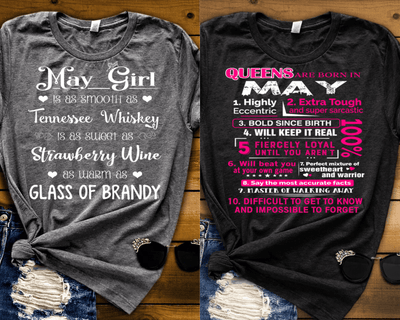 """MAY -Queens Are  Born + Whiskey -Pack of 2"""