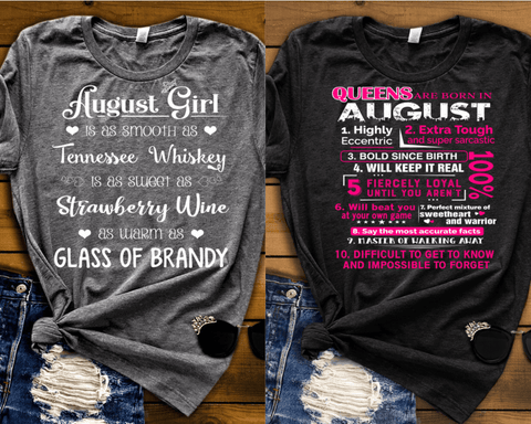 """AUGUST -Queens Are  Born + Whiskey -Pack of 2"""