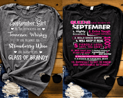 """SEPTEMBER -Queens Are  Born + Whiskey -Pack of 2"""