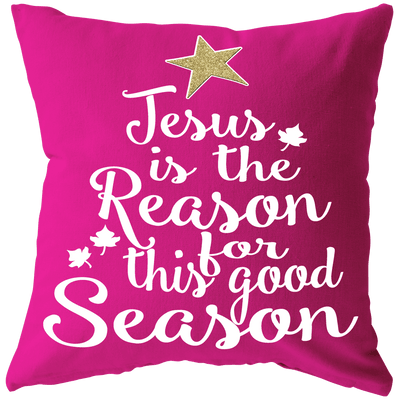 """Jesus is the Reason Cushion"" -Pink"