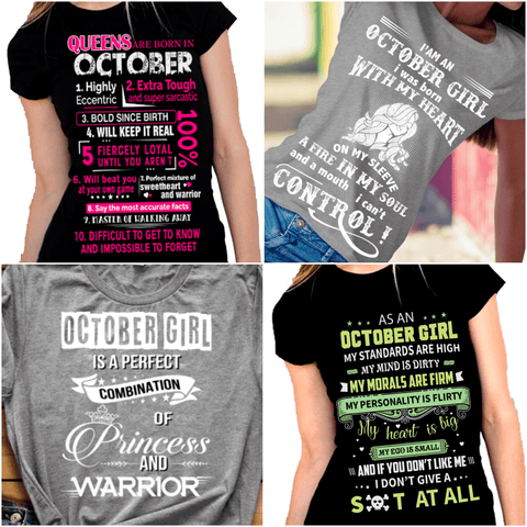 """Get Exclusive Discount On October Combo Pack Of 4 Shirts(Flat Shipping) For B'day Girls."