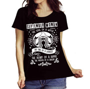 """SEPTEMBER WOMAN The Soul Of A Witch The Fire Of A Lioness The Heart Of A Hippie..."",T-Shirt."