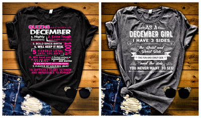 """December Queens +3 Sides-Pack of 2"",T-Shirt."