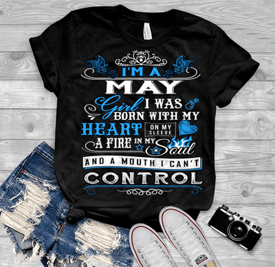 "May Girl,""I Was Born With My Heart""(50% Off Today) Custom Birthday T-Shirts"