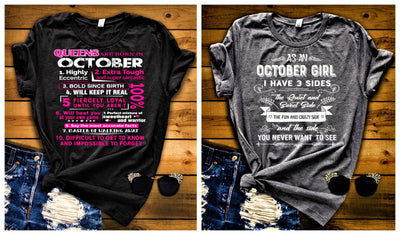 """October Queens + 3 Sides-Pack of 2"",T-Shirt."