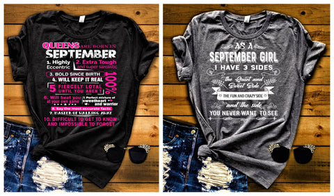 """September Queens + 3 Sides-Pack of 2"",T-Shirt."