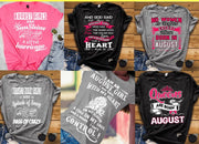 """Good Birthday Vibes For August Born Girls"" Pack Of 6 Shirts"
