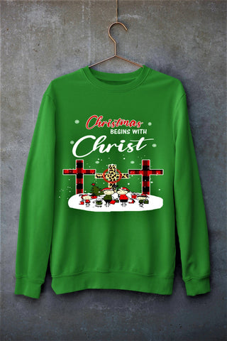 """CHRISTMAS BEGINS WITH CHRIST""- Hoodie & Sweatshirt."