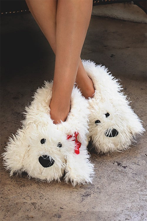 Fluffy pup slippers