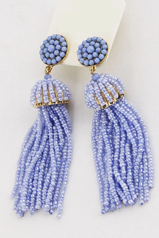 Bay Blue Tassel Earrings - Everly Oak Preppy Fashion