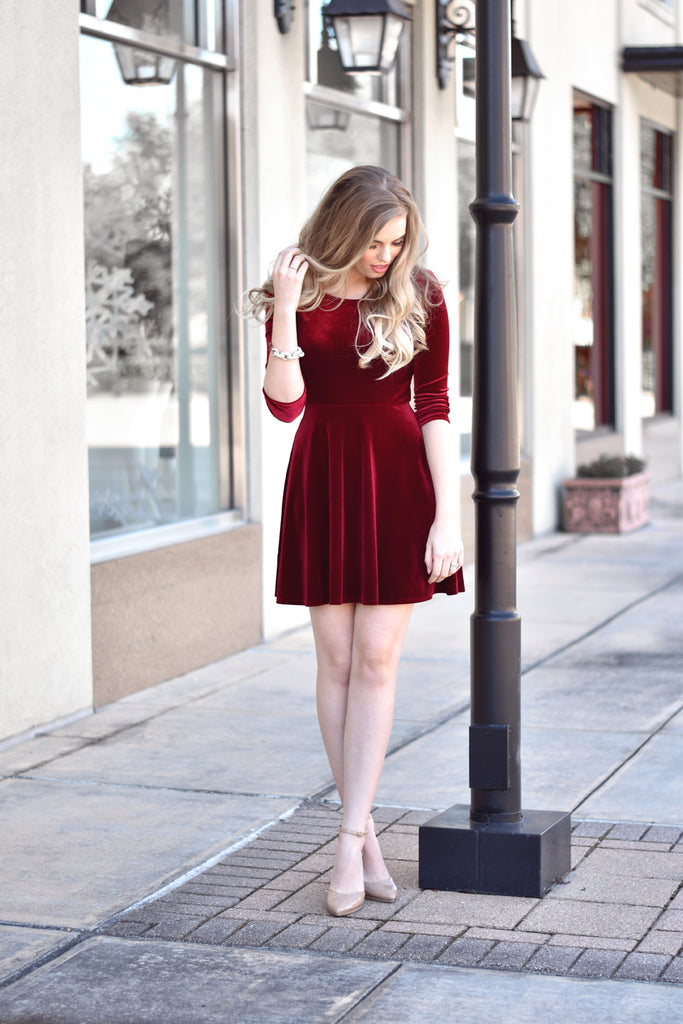 Madison Velvet Dress - Everly Oak Preppy Fashion