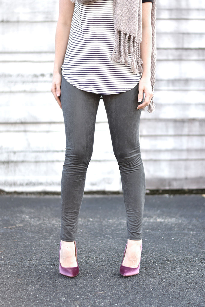 Faux Suede Leggings - Everly Oak Preppy Fashion