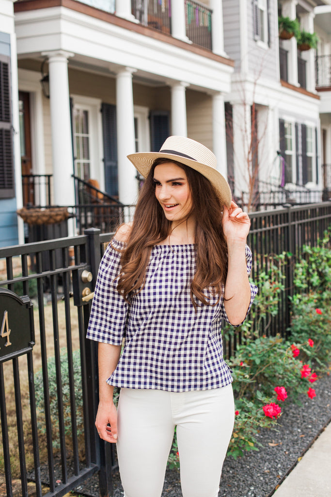 Navy Gingham Blouse - Everly Oak Preppy Fashion