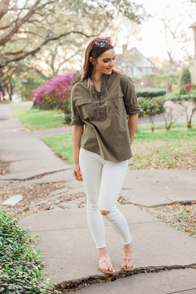 Green Lace-Up Blouse