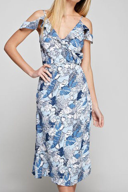 Blue Palm Print Dress - Everly Oak Preppy Fashion