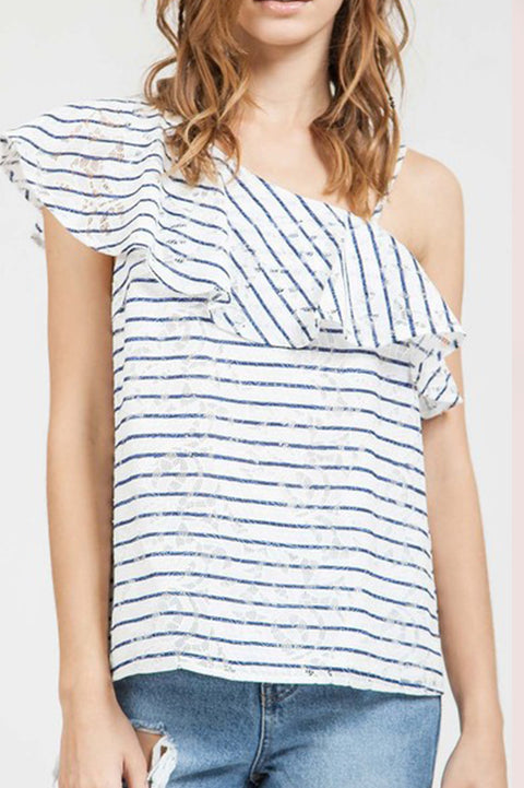 Lacey Stripe Blouse - Everly Oak Preppy Fashion