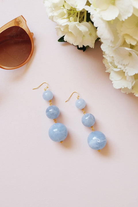 Blue Marble Drop Earrings
