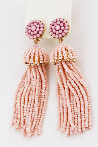 Pale Pink Tassel Earrings - Everly Oak Preppy Fashion