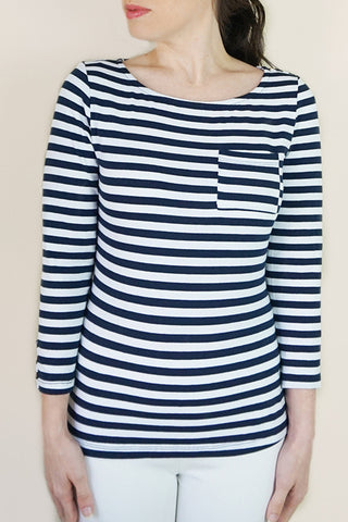 Boat Neck Stripe Blouse