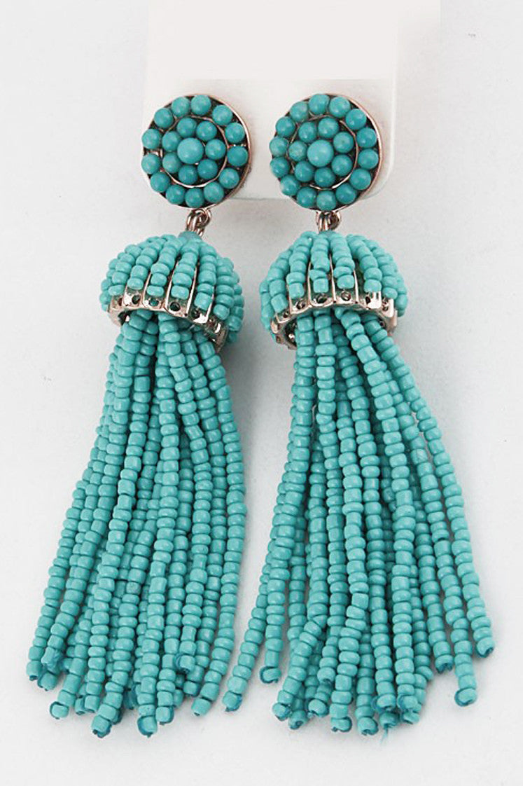 Turquoise Tassel Earrings - Everly Oak Preppy Fashion