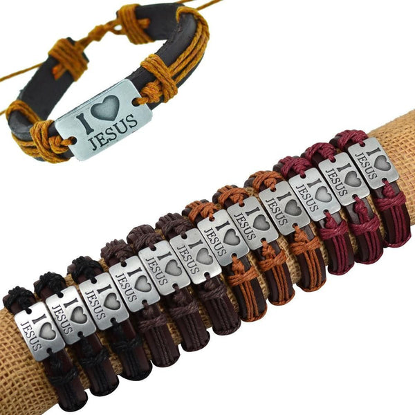 12PCS i love JESUS Genuine Leather Bracelet - Fashion Cornerstone