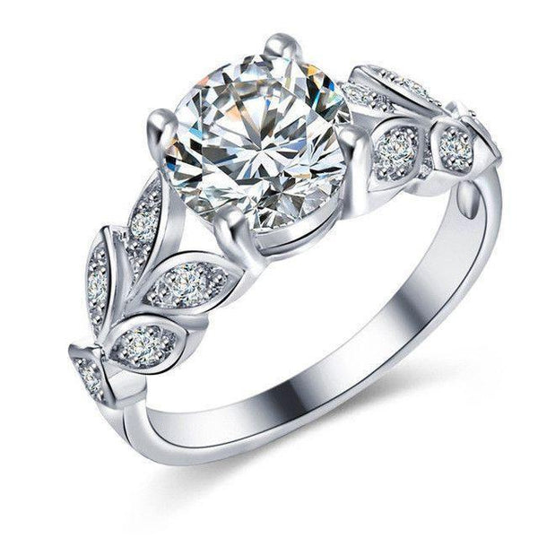 17KM Silver Color Crystal Flower Wedding Ring - Fashion Cornerstone
