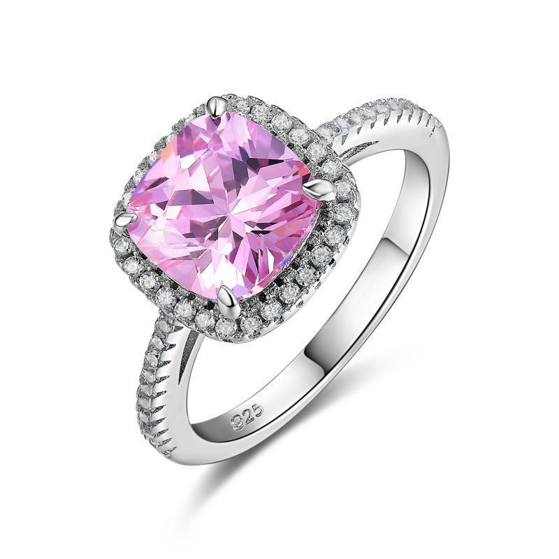 1.8Ct Stunning Pink Stone Solid  Sterling Silver Wedding Ring