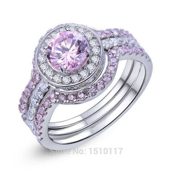 2 Ct Stunning Round Cut Pink CZ Solid 925 Sterling Silver 3 Pcs Halo Wedding Ring - Fashion Cornerstone