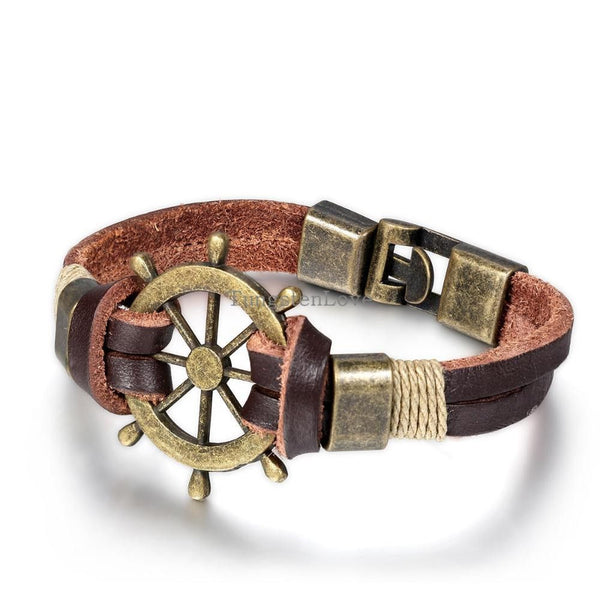 21.5cm  Bronze Genuine Leather Rudder Bracelets - Fashion Cornerstone